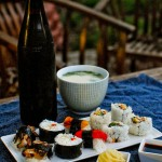 Vegan Sushi and miso soup