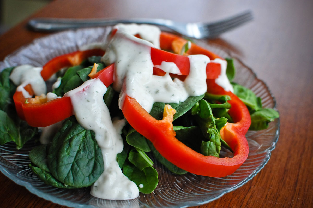Vegan Ranch Dressing on Salad