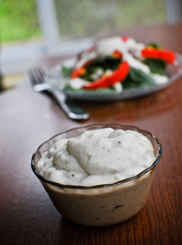 Vegan Ranch Dressing in Ramekin