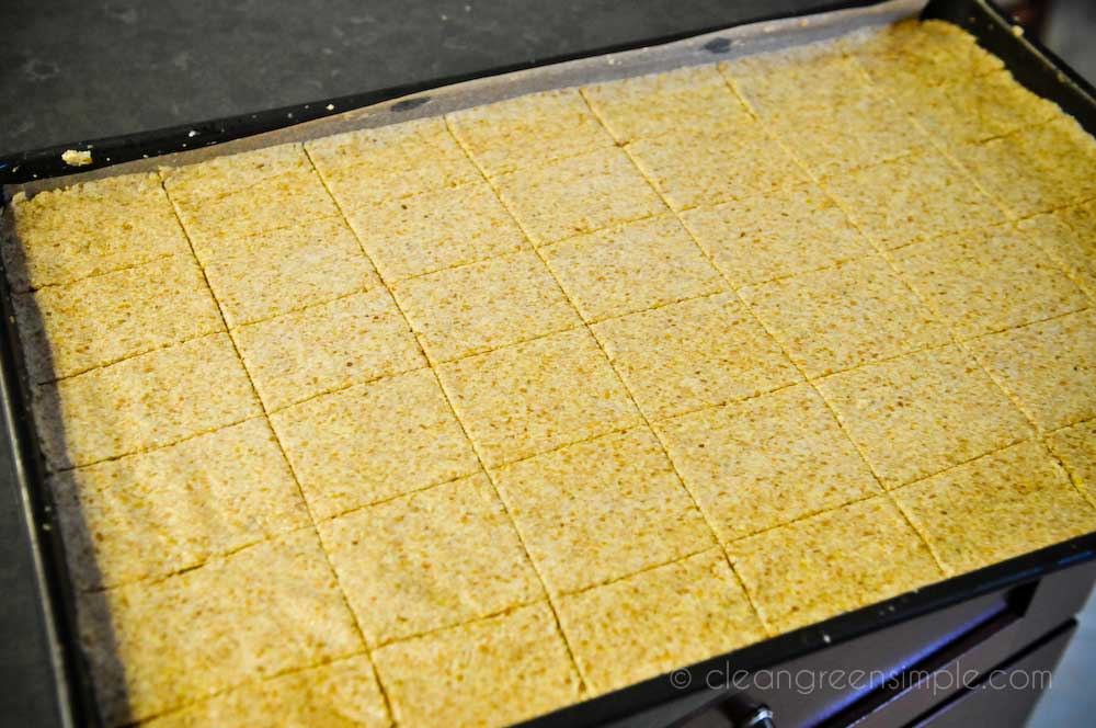 Flax Crackers in Cookie Sheet
