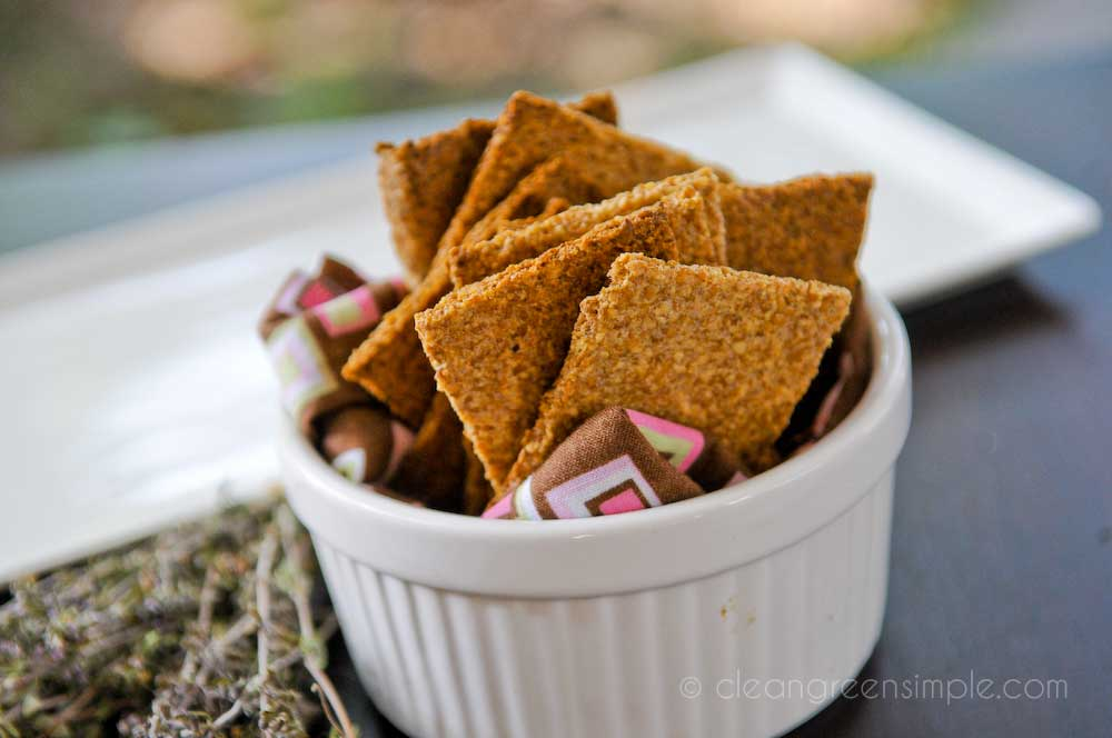 Vegan Flax Crackers in Ramekin