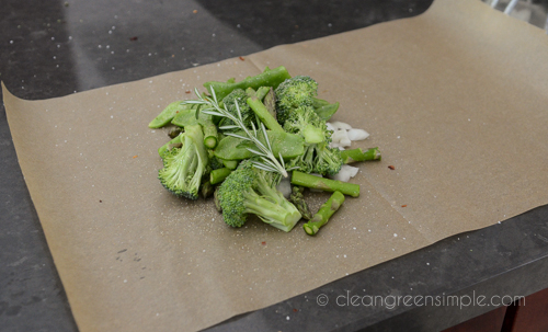 steam vegetables in parchment