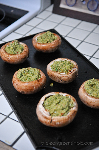 stuffed mushrooms ready for the oven
