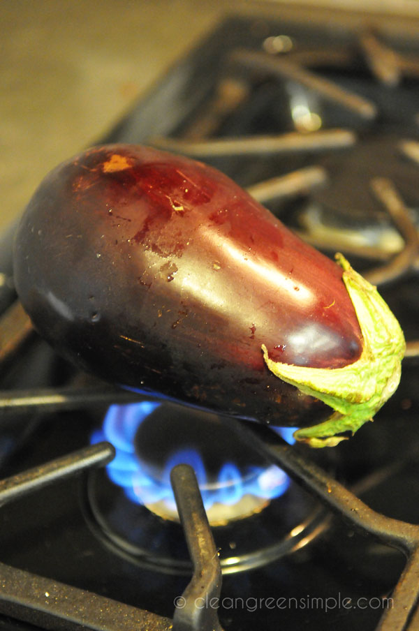 cooking egg plant on gas stove