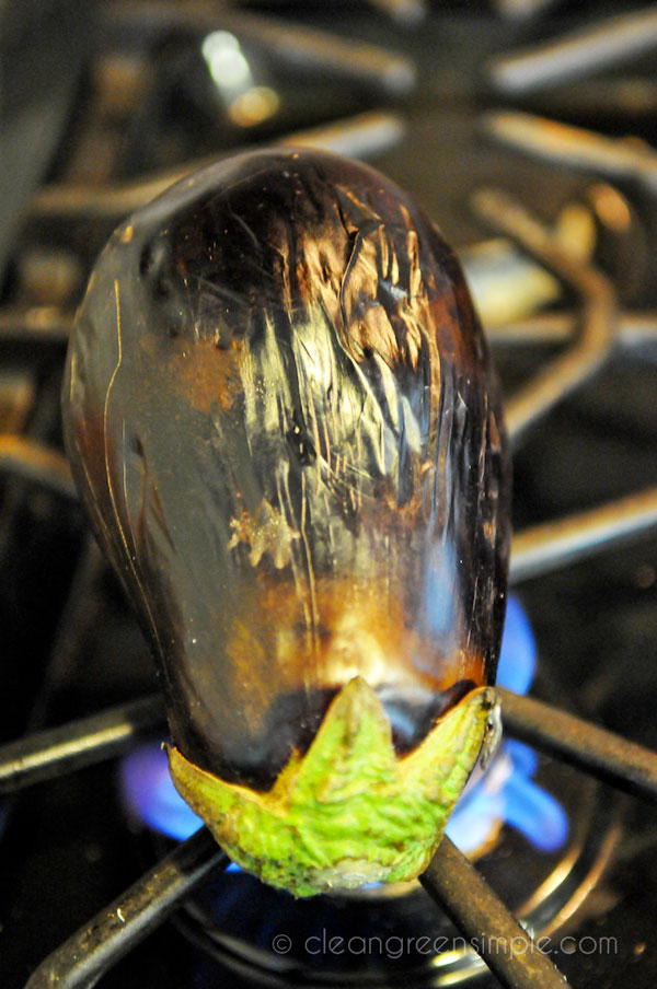cooking eggplant on gas stove