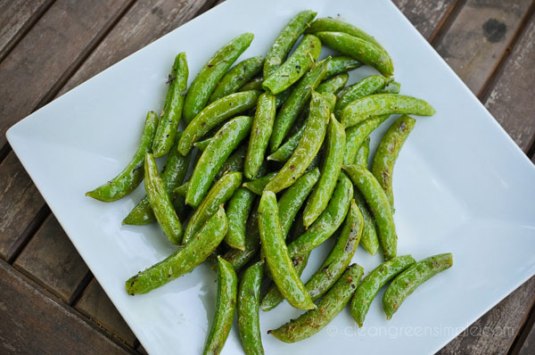 Sugar snap peas on a plate