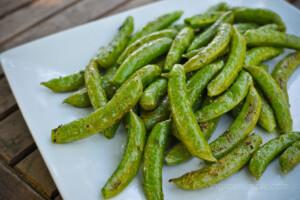 close-up of sugar snap peas
