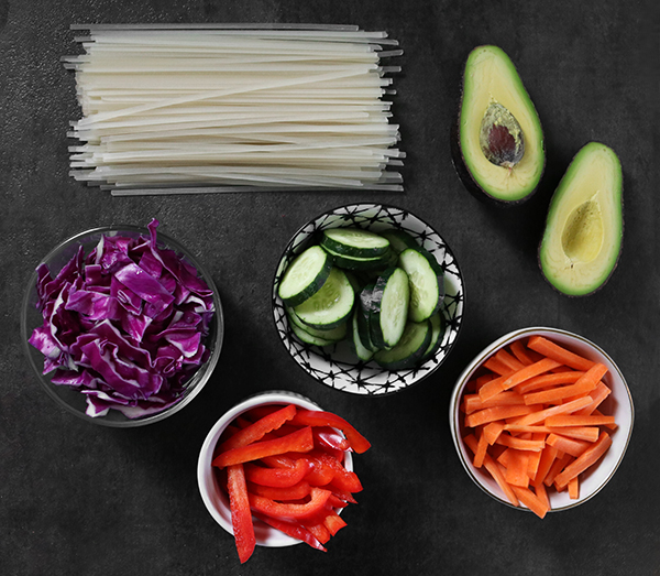 rice noodles and vegetables