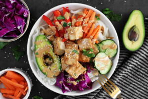 Spring Roll Bowl with Savory Peanut Sauce