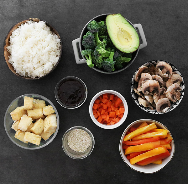 ingredients for teriyaki tofu bowl