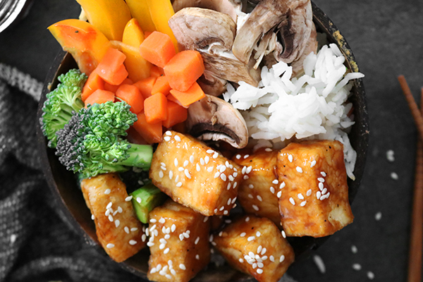 combine teriyaki tofu bowl ingredients