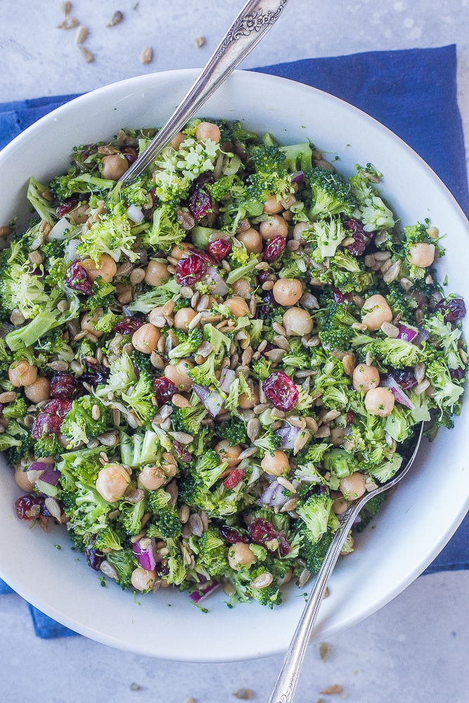Vegan Thanksgiving Appetizers: Crunchy Broccoli Salad with Maple Mustard Dressing