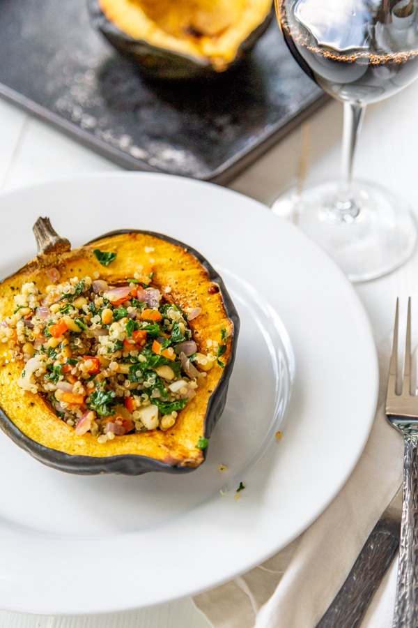 roasted acorn squash with quinoa and kale