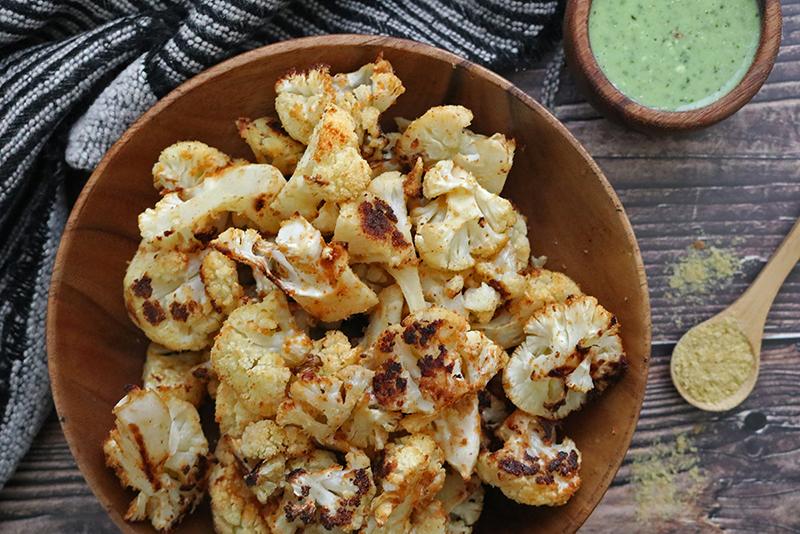 cheesy vegan roasted cauliflower