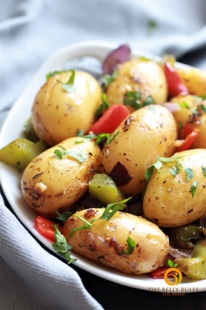 Instant Pot roasted potatoes seasoned with garlic and Italian herbs