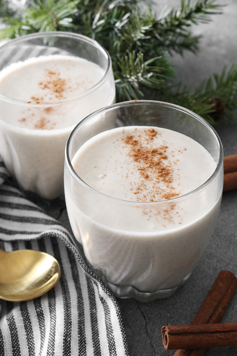 Vegan Eggnog served in glasses