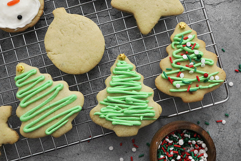 Vegan Sugar Cookies with Christmas tree decoration