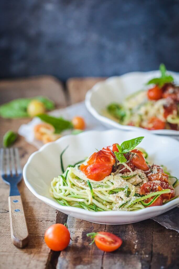 Low Carb Cherry Tomato Zucchini Noodles