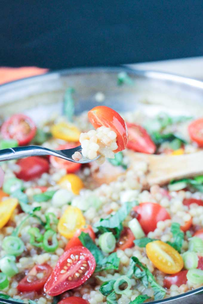 Fregola Pasta with Cherry Tomatoes and Basil
