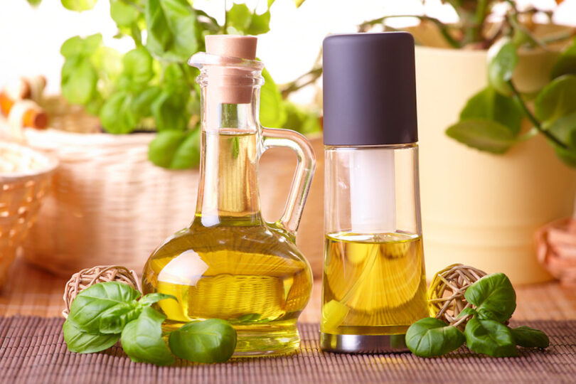 Olive oil bottle and olive oil sprayer