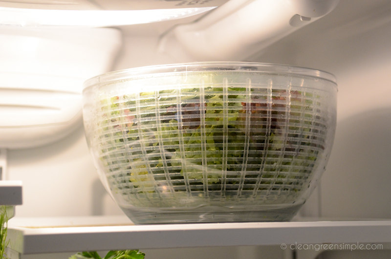 Salad spinner bowl in a refrigerator