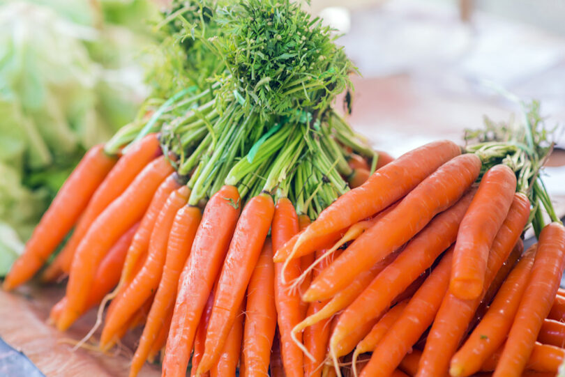 Bunches of fresh organic carrots to include in main dish recipes