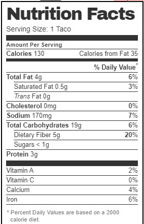 Taco Bell Nutrition Facts for Black Bean Taco (Vegan Version with Pico de Gallo)