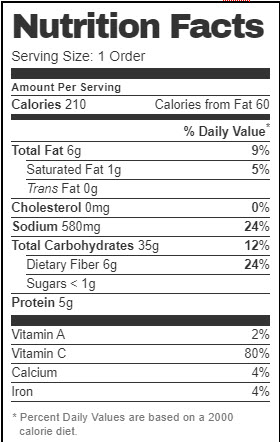 Taco Bell Nutrition Facts for Black Beans & Rice (Vegan Version with added Red Sauce and Premium Guacamole)