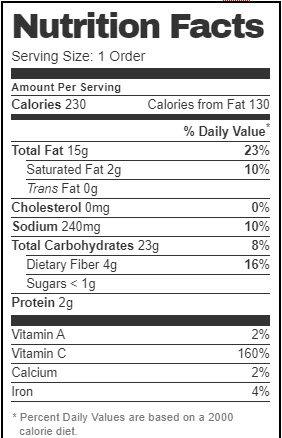 Taco Bell Nutrition Facts for Chips & Guacamole (Vegan)