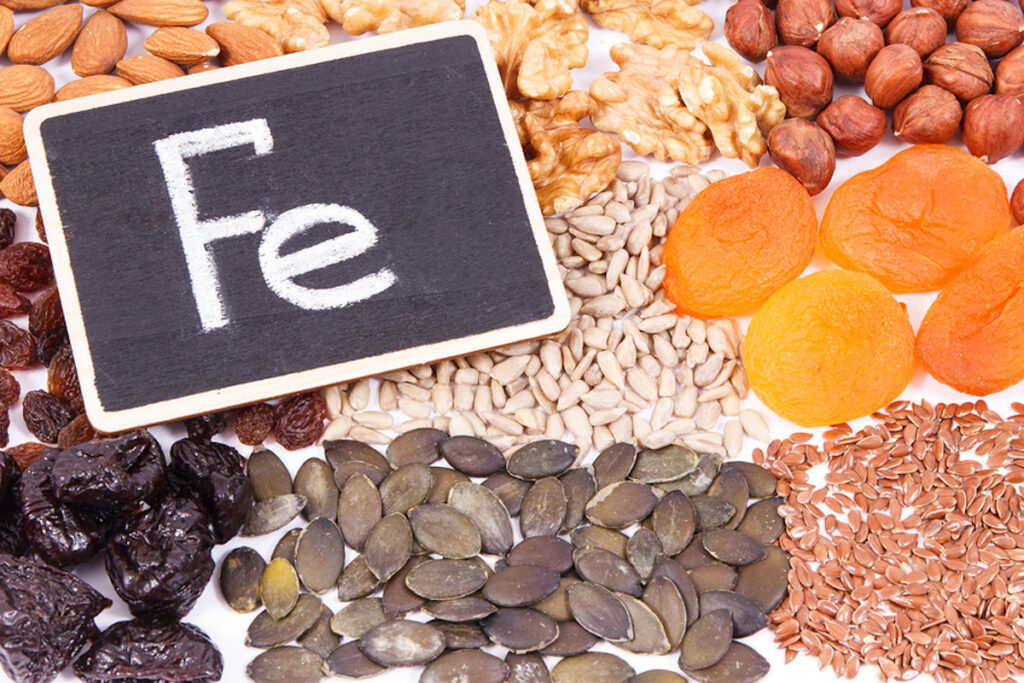 Iron rich foods with Fe inscription