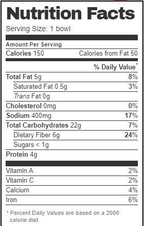 Taco Bell Nutrition Facts for Mini Skillet Bowl (Vegan Version with Black Beans and Breakfast Salsa)