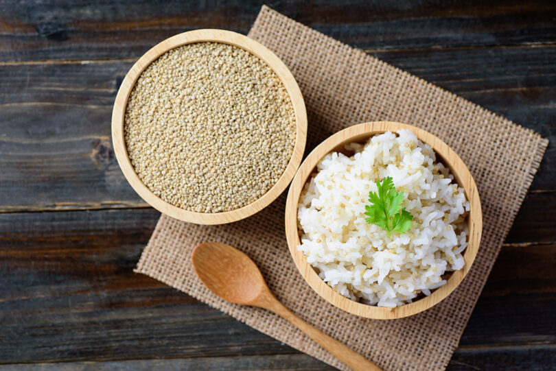Cooked Rice With Quinoa Seed In A Bowl On Wooden Background