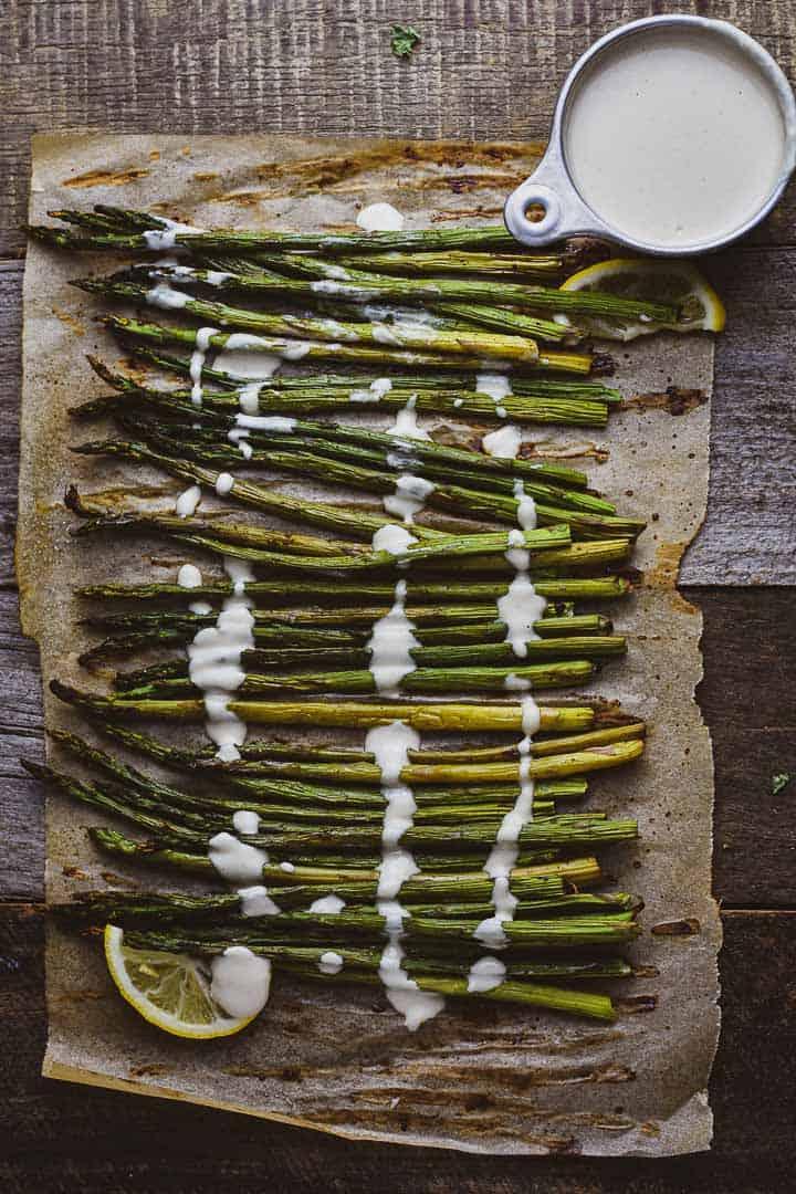 Oven Roasted Asparagus with Lemon Tahini Sauce