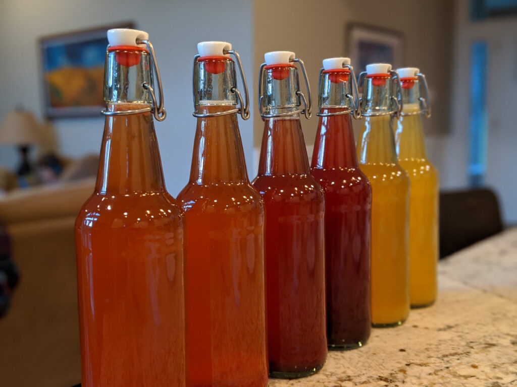 colorful bottles of kombucha tea