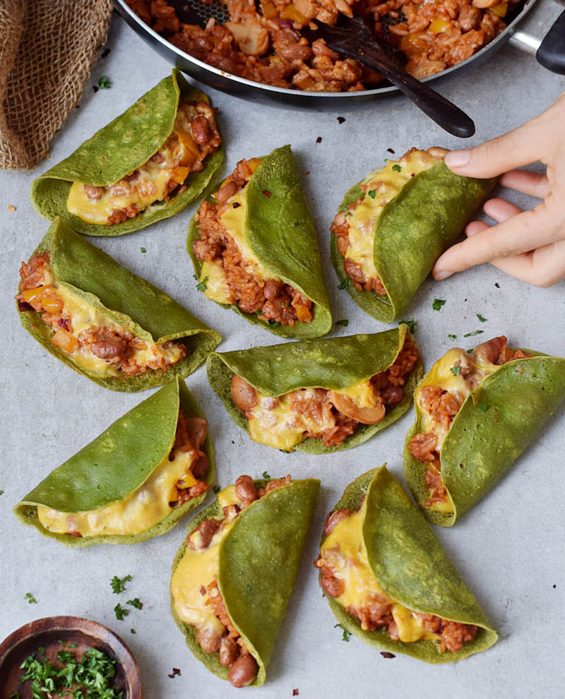Crispy Oven Baked Spinach Tacos
