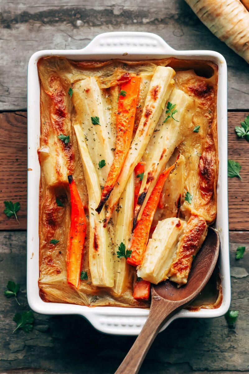 Vegan parsnip & carrot bake