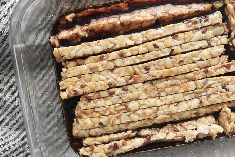 marinating tempeh in tempeh bacon seasoning
