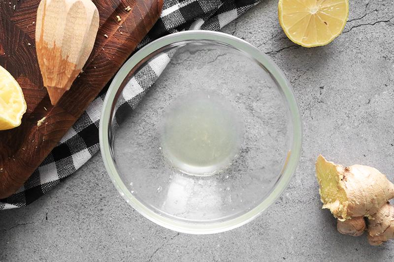 Lemon juice in a glass bowl