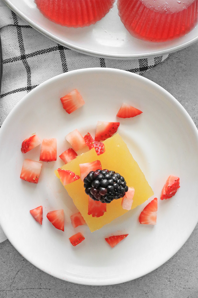 Vegan Jello on a plate with berries