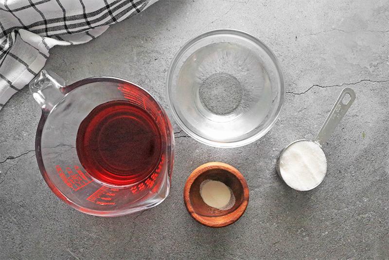 ingredients for making vegan jello with juice