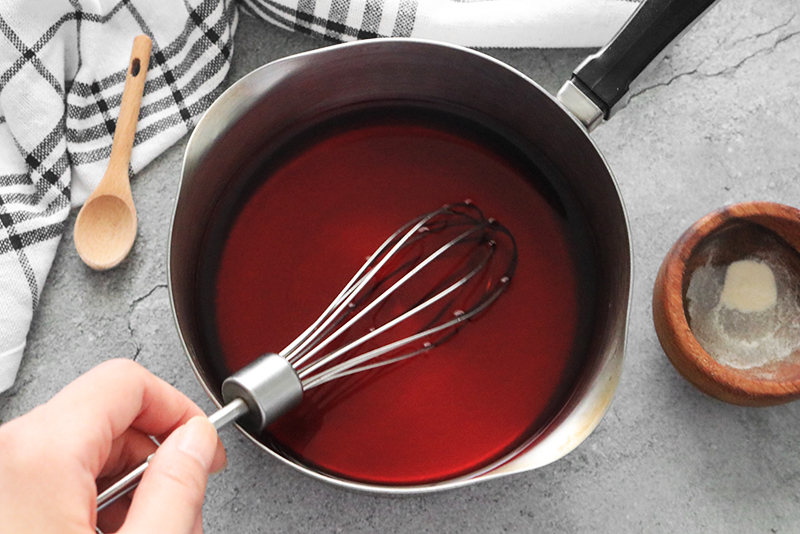 boiling and stirring the vegan jello mixture