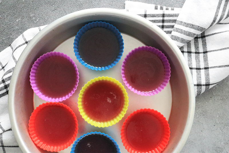 vegan jello mixture in silicone baking cups