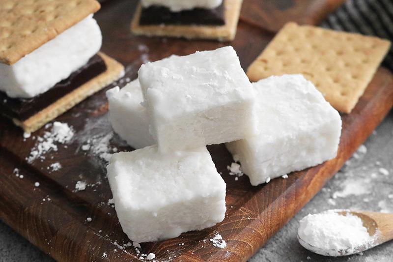 homemade vegan marshmallows on a cutting board