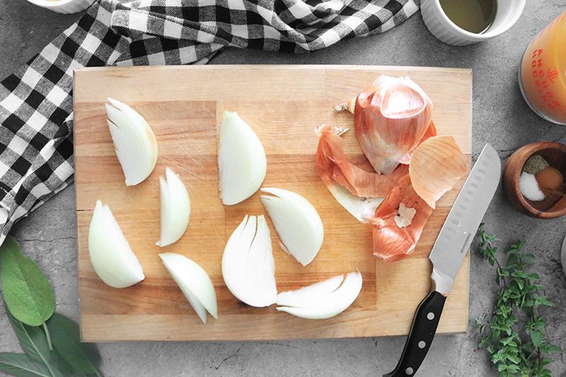 Onions cut up on a cutting board