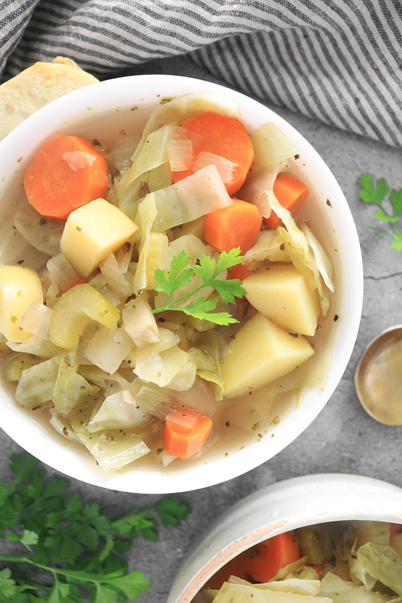 Vegan Cabbage Soup in a white bowl