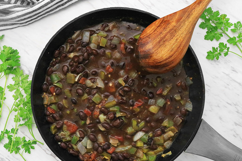 Pour the Black Beans into the pan