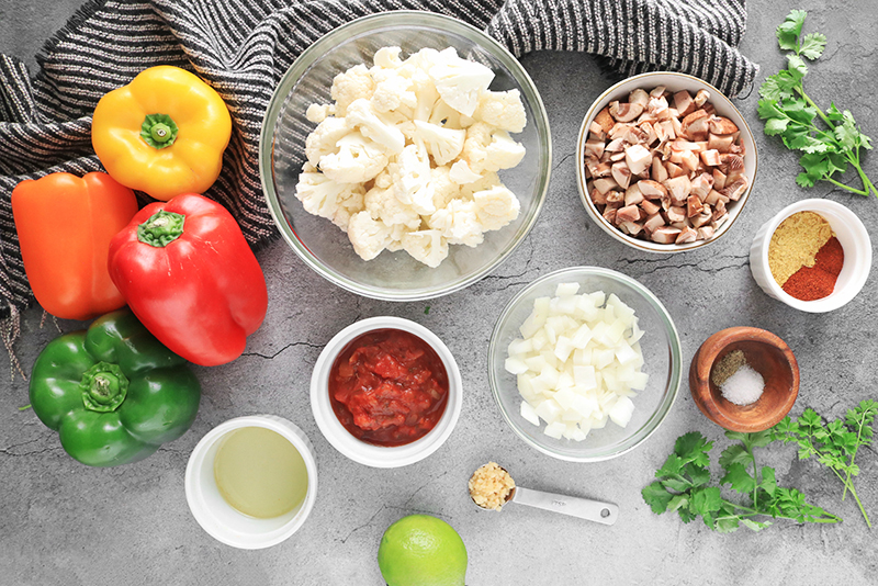 Ingredients for Cauliflower Rice Stuffed Peppers