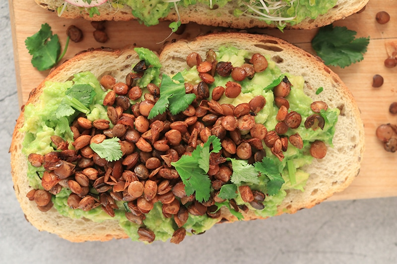 Avocado Toast with cooked lentils