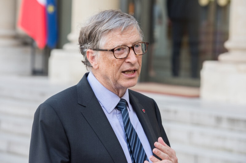 APRIL 16, 2018 : Bill Gates at the Elysee Palace to encounter the french president to speak about Bill & Melinda Gates Foundation (BMGF)