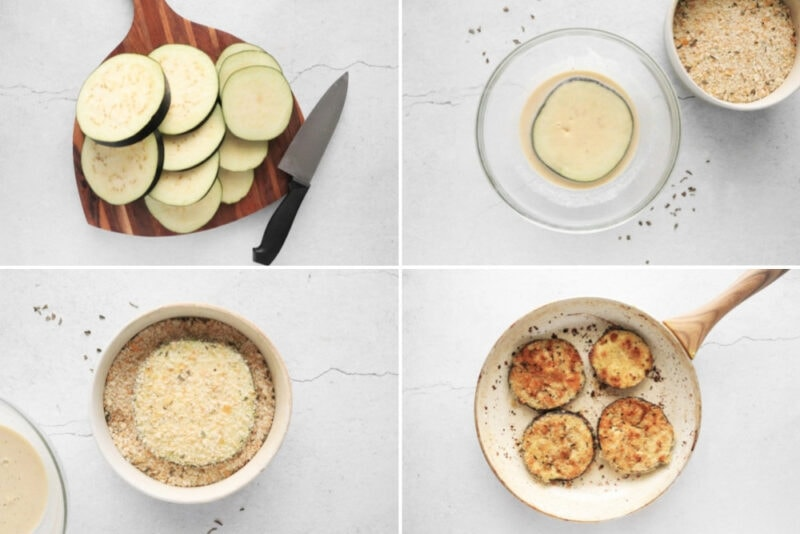 Process for cutting, coating, breading, and frying the breaded eggplant for Eggplant Parmesan